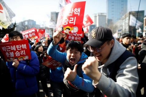 Pro Park protesters square off with police as S  Korea's president is impeached