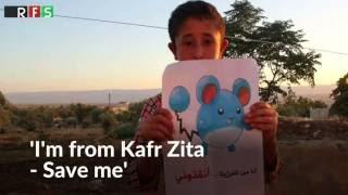 Save us, say Syrian children holding Pokemon picture